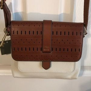 Beautiful cream and brown crossbody